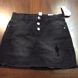 Girls black jean skirt